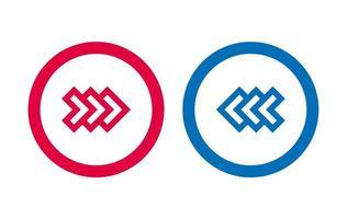 flèche design icône ligne rouge et bleu