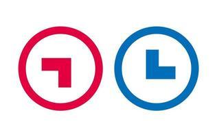 ligne de conception icône flèche rouge et bleu