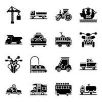pack d & # 39; icônes solides automobiles vecteur