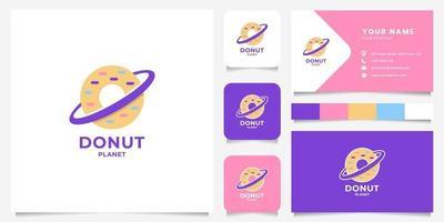 logo de planète donut coloré avec modèle de carte de visite vecteur