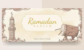 bannière de ramadan kareem dessiné à la main vecteur
