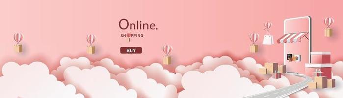 bannière de vente pour les achats en ligne sur smartphone vecteur