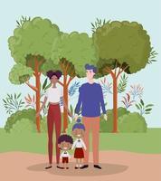 famille interraciale au parc vecteur