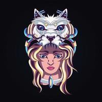 illustration dart fille loup vecteur