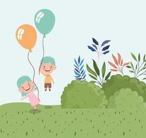 heureux petits enfants avec des ballons à l'extérieur vecteur