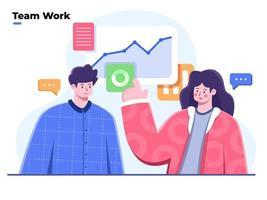 illustration plate de l'équipe commerciale travaillant ensemble pour trouver des solutions et des discussions, une collaboration de travail, des gens discutent des idées de marketing avec l'analyse de données, discutant du rapport financier de l'entreprise.