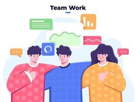 équipe commerciale travaille ensemble, succès des personnes du groupe de l'équipe commerciale, collaboration de l'équipe de partenariat dans les affaires, équipe de groupe d'entreprise amicale, solidarité du travail d'équipe, personne diversifiée, travail d'équipe réussi. vecteur