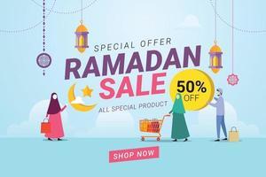 promotion de remise de bannière de vente ramadan vecteur