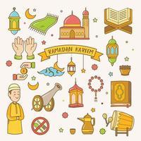 ramadan kareem doodle illustration vectorielle dessinés à la main vecteur
