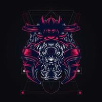 illustration de l'oeuvre de samouraï satan vecteur