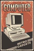 affiche de signalisation dordinateur personnel rétro classique de gadgets vintage vecteur