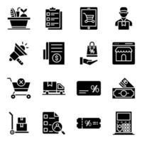 pack d'icônes solides de commerce vecteur