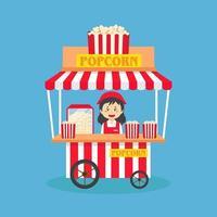 Vendeuse vendre rue de stand de pop-corn vecteur