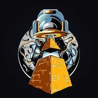 illustration de l'oeuvre de la pyramide ovni vecteur