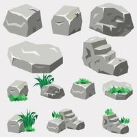 ensemble de roche et de pierre vecteur
