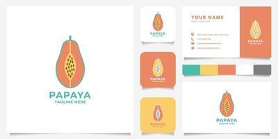 logo de papaye colorée avec modèle de carte de visite vecteur
