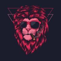 illustration vectorielle de lion rose fumer vecteur