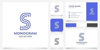 logo lettre s ligne simple et minimaliste avec modèle de carte de visite vecteur