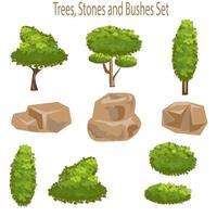 éléments de conception d'arbres et de roches vecteur