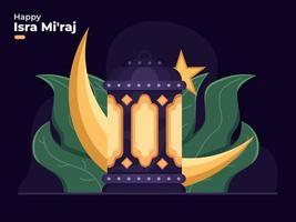 al-isra wal mi'raj prophète muhammad vecteur