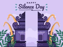 jour de silence et nouvel an hindou de saka à bali, indonésie. illustration plate avec une architecture traditionnelle. peut être utilisé pour carte de voeux, carte postale, bannière, affiche, couverture de livre, animation. vecteur