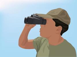 observateur d'oiseaux sur le vecteur graphique d'illustration