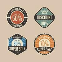 badge de réduction de super vente rétro vecteur