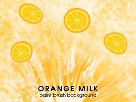 modèle de fond de boisson fraîche orange et lait avec pinceau