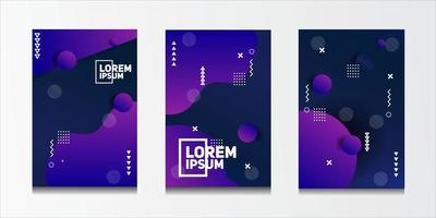 ensemble de fond de motifs géométriques abstraits avec des motifs de lignes et de demi-teintes pour les conceptions de couverture de brochure d'entreprise.