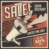 affiche de réduction de super vente vintage rétro classique vecteur