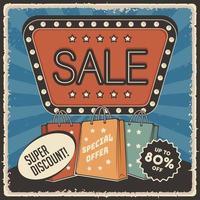 affiche de réduction de super vente rétro vecteur