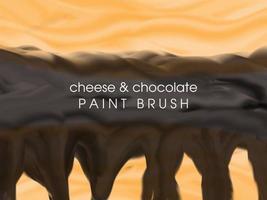 Modèle de fond de nourriture au fromage fondu et au chocolat avec un pinceau