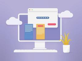 Connexion au compte d'ordinateur 3D et page de formulaire de mot de passe à l'écran. concept de page d'authentification de connexion. vecteur