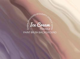 modèle de fond de crème glacée avec plusieurs saveurs avec pinceau
