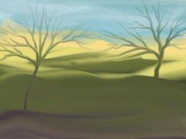 fond de nature des arbres et de la mer avec un pinceau
