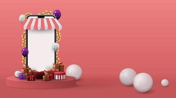 modèle avec smartphone volumétrique avec écran blanc, cadeaux et sphères 3d sur fond rose. Illustration de rendu 3D avec scène abstraite rose