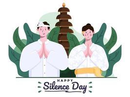 bonne journée de silence nyepi et bonne année saka ou nouvel an hindou. couple bali ou personnes portant une tenue traditionnelle. vecteur