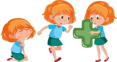 personnage de dessin animé d & # 39; une fille faisant différentes activités