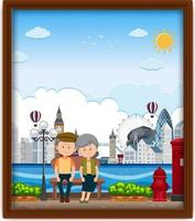 Un cadre photo avec vieux couple voyageant à Londres vecteur