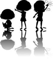 ensemble, de, enfants, silhouette, à, réflexe, blanc, fond