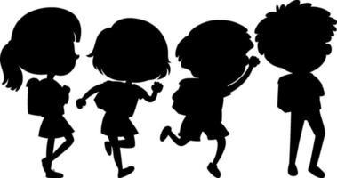 ensemble de personnage de dessin animé silhouette enfants