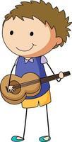 Un enfant de griffonnage jouant un personnage de dessin animé de guitare acoustique isolé