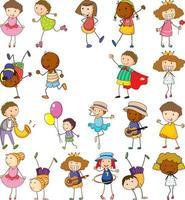 ensemble d & # 39; enfants différents dans un style doodle