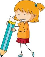 jolie fille tenant le personnage de dessin animé de crayon doodle vecteur