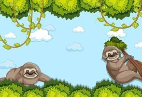 personnage de dessin animé de paresseux dans une scène de forêt vierge
