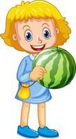 personnage de dessin animé fille heureuse tenant une pastèque