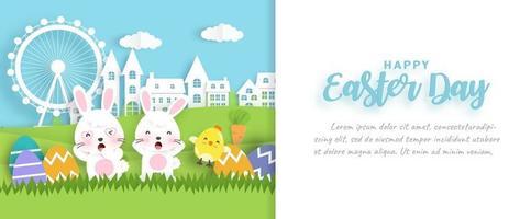 bannière de vente joyeux jour de pâques