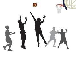 les étudiants jouent au basket-ball sur le vecteur graphique d'illustration
