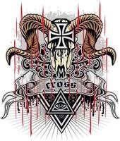 signe gothique avec crâne de bélier et croix, t-shirts design vintage grunge vecteur