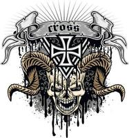 signe gothique avec crâne et croix, t-shirts design vintage grunge vecteur